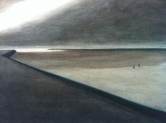 Leon Spilliaert  Dike and Beach  1907  Indian ink, washand coloured pencil on paper