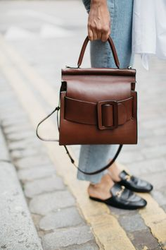 brown leather square bag