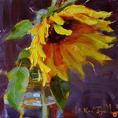 "Daily Paintworks - ""August Sunflower"" - Original Fine Art for Sale - © Elena Katsyura Art Aquarelle, Art Watercolor, Watercolor Illustration, Pintura Graffiti, Desenho Pop Art, Cuadros Diy, L'art Du Portrait, Art Visage, Sunflower Art"