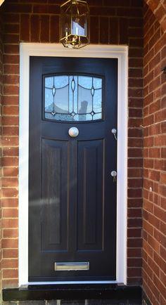Rockdoor Newark are very popular. Rockdoors are the only composite door manufacturer to make a door so suited to the Fitted from Art Deco Door, Traditional Front Doors, House Front, House Exterior, House Styles, House Inspiration, Composite Door, Front Porch Design, Doors