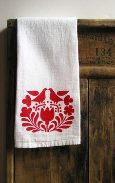 scandinavian print tea towel