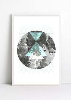 Moon Art  Galaxy Geometric decor Geometric Art Print ABSTRACT Triangle minimalist Watercolors Tribal Indian Print Modern art Black and white by Fybur on Etsy