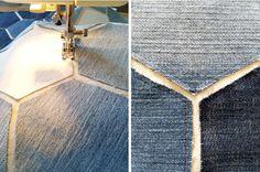 sewing jean hexagon pillow