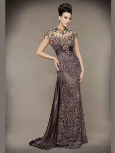 Sheath/Column High Neck Sleeveless Beading Floor-length Taffeta Dresses