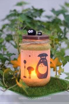 My Neighbour Totoro Candle Holder – Ghibli Decor - Decorazione Hobbies And Crafts, Fun Crafts, My Neighbour Totoro, Totoro Nursery, Geek Home Decor, Kawaii Cookies, Japanese Party, Cotton Ball Lights, Studio Ghibli Art