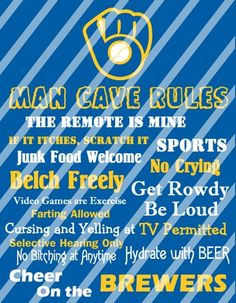 Milwaukee Brewers Man Cave Rules Wall Sign Printable Digital File