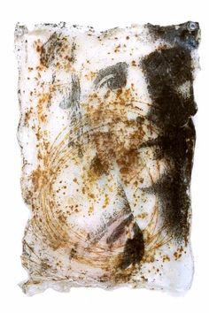 mixed media art  , face, rust