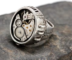 Steampunk ring Watch Part Ring  in white bronze door billyblue22, $70.00