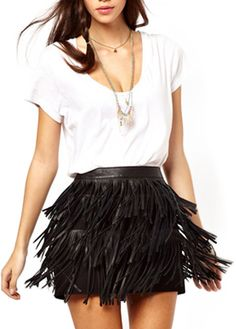 PU Tassels Skinny Fit Skirt. Even a walk makes you shake with liveliness. Love this!