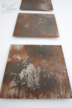 Rusted metal sheets as art! I have something that will work like this!  http://crafterholic.blogspot.com/2012/04/rusted-metal-wall-art.html