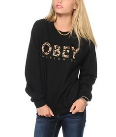 $49.95 Obey Floral Worldwide Crew Neck Sweatshirt - Bestie.com