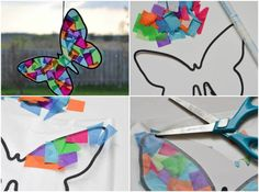 Crafts with tissue paper for Easter and spring - great ideas for children # spring decorations Crafts with tissue paper window decorations butterfly Decor Crafts, Diy And Crafts, Crafts For Kids, Tissue Paper Crafts, Paper Paper, Crafty Projects, Spring Crafts, Easter Crafts, Making Ideas