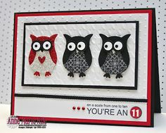 """cute handmade card from Stampin' Anne ... three punch owls ... like the wayt the two are looking sideways at the """"special"""" one ... Stampin' Up!"""