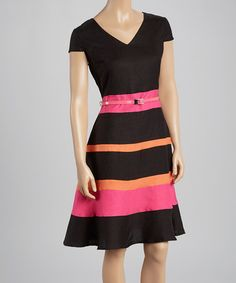 Another great find on #zulily! Black & Orange Belted V-Neck Cap-Sleeve Dress by Joy Mark #zulilyfinds