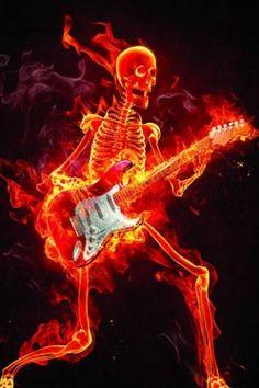 AMFD Burn Skull Shower Curtain Guitar Music Rock Alternative Skeleton Cool Unique Black Orange Bathroom Curtains Polyester Fabric Waterproof 70 X 70 Inches Include Hooks Horror Wallpaper, Skull Wallpaper, Music Wallpaper, Screen Wallpaper, Heavy Metal, Metal Fan, Rock Poster, Flame Art, Halloween Pillows