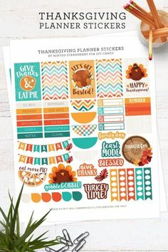 Hello friends! Its Aki from Minted Strawberry sharing some fun Thanksgiving FREE cute planner stickers for you to use this month for your holiday planning.I just love having punny shirts or shirts with clever sayings for different seasons and occasions – so of course I thought I should make a fun printable with clever sayings too that I can use on my own planner and so I can share it with you guys as well. Cute Planner, Happy Planner, Planner Ideas, 2015 Planner, Teacher Planner, Blog Planner, Free Thanksgiving Printables, Free Printables, Thanksgiving Recipes