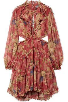 Zimmermann | Melody cutout floral-print silk-crepon mini dress | NET-A-PORTER.COM