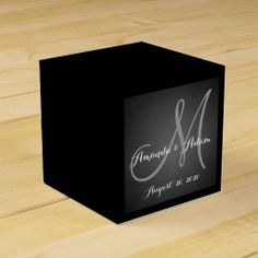 Chalkboard Monogram Wedding Favor Box