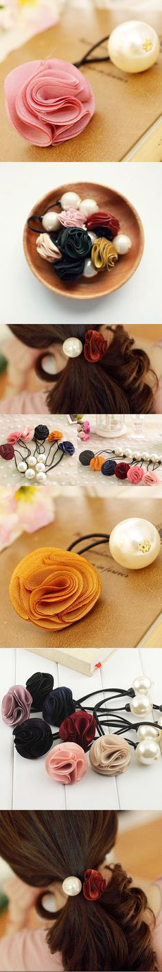 Fashion Factory Price 2016 Flowers/Floral Girls Ponytail Holders Gum for Hair Ties Women's Pearl Elastic Hair Band