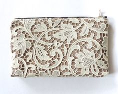 Lace Pencil Case Clutch Pouch Recycled Doily Tan by Lindock, $28.00