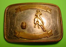 BIG OLD Barrel Racing COWGIRL Nickle Silver Belt Buckle FREE SHIP & MAKE OFFER $85.00 or Best Offer Free shipping