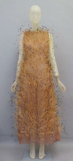 Ensemble.  House of Balenciaga  (French, founded 1937).  Designer: Cristobal Balenciaga (Spanish, 1895–1972). Date: ca. 1965. Culture: Spanish. Medium: silk, feathers. Dimensions: Length at CB (a): 54 1/2 in. (138.4 cm). Length at CB (b): 52 in. (132.1 cm).