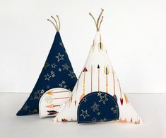 Arrows and Gold Stars Tooth Fairy Teepee Toy Pillow by AppleWhite