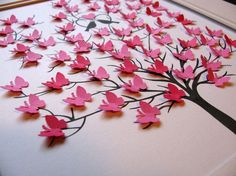 FULLEST SAMPLE above in Hot Pink has 60 mini butterflies which measure just over 1/2 inch ~ they do NOT have room for words or text ~ they are meant to be decorative ... not a guest book. DETAILS --- TREE is printed with archival black ink on 140 lb watercolour paper :: SIZE is