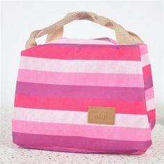 Lunch Bag 2016 Hot Sale Insulated Cold Canvas Stripe Kids Baby Picnic Carry Case Portable Neoprene Zipper Storage 7 Color
