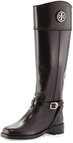 Tory Burch Teresa Logo Riding Boot, Black, Vegetable-dyed leather riding boot by Tory Burch.