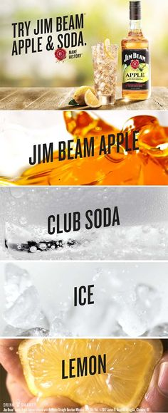 Mix your next party in a fresh new way. Try with club soda and a squeeze of lemon for a crisp combination. Jim Beam® Apple, Apple Liqueur infused with Kentucky Straight Bourbon Whiskey, Alc./Vol. James B. Beam Distilling Co. Bourbon Drinks, Whiskey Cocktails, Cocktail Drinks, Bourbon Whiskey, Party Drinks, Fun Drinks, Detox Drinks, Beverages, Refreshing Drinks