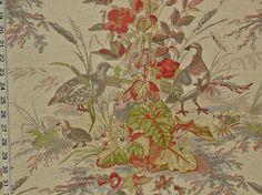 Schumacher Greeff quail fabric beige from Brick House Fabric: Novelty Fabric