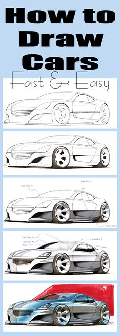Learn to draw cars in 30 minutes. Ideal for beginners Learn to draw cars in 30 minutes. Ideal for beginners Car Drawing Easy, Car Drawing Pencil, Cool Car Drawings, 3d Drawings, Disney Drawings, Drawing Disney, Pencil Art, 3d Drawing Techniques, Drawing Lessons