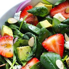 Quick & Easy Dinner Recipes - Spinach Strawberry and Avocado Salad - Janne