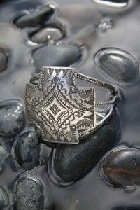 Four Directions Sterling Silver Cuff Bracelet made by Navajo artist Vincent Platero
