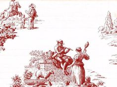 Historical Farm & Country Toile Wallpaper #Brewster