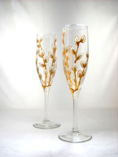 Flute Glasses Hand Painted Glassware Pussy by SkySpiritStudios