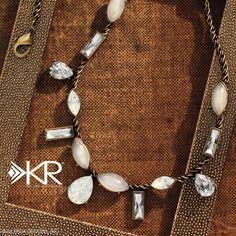 Crystal Clear Necklace Quartz, Swarovski crystals, Brass www.SASSYSTERLINGSILVER.COM