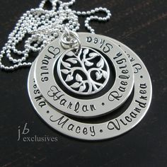 Personalized hand stamped necklace-family tree eternity-family keepsake--gift for mom, grandma, nana, granny, grammy