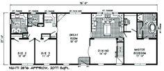 NC-171 floor plans.  A 3 bed/2 bath modular home available at NCModulars.com.