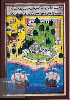Cartography, Turkey, 20th century. Istanbul, the Seraglio Point with Topkapi Palace, Hagia Sophia, the Sea of Marmara with two ships at sea, from a geographical treatise by Nusret-Colpan (1952-2008), in Ottoman miniature style.