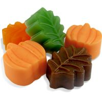DIY Soap Making Recipe - Fall Leaves and Pumpkin Soap. This simple handmade soap recipe creates adorable guests soaps to use in the powder room during the autumn months.