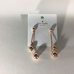 Kate Spade Gold Ball Linear Earrings Includes Duster Bag New with Tags Kate Spade Earrings, Pearl Earrings, Drop Earrings, Pearls, Tags, Gold, Jewelry, Pearl Studs, Jewlery