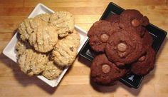 oatmeal raisin and double chocolate cookies square plates easy recipe
