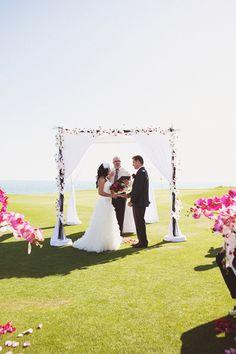 Love the ceremony backdrop
