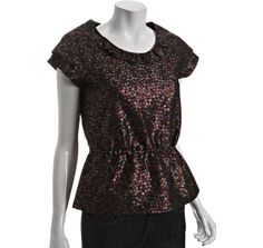 Black Metallic Dot Print Peplum Blouse from Marc by Marc Jacobs, $107.19 at Bluefly.com. If only it weren't dry clean only...and about double my price range!