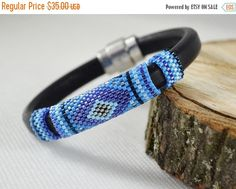 Blue Men's braided bracelet strap bracelet by SzkatulkaAmiJewelry Blue Men's braided bracelet #mensbracelet