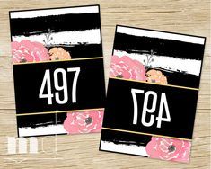 Mirrored Live Sale Tags, Lularoe / Agnes and Dora Hanger Numbers for Facebook Live Sales, Lularoe Consultant Online Sale Number, Best marketing kit in black and white and gold stripe floral kate spade design by MulliganDesign on Etsy