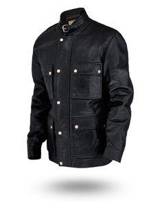 Belted- Collar- Four- Pockets- Black- Leather- Jacket