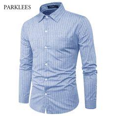 Striped Men Shirt 2017 Brand Long Sleeve Shirt Men Double Pocket Business Formal Mens Shirts Casual Slim Fit Chemise Homme 2XL #Affiliate